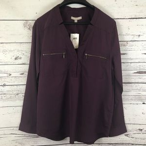 •Banana Republic• NWT Purple Zipper Pocket Blouse